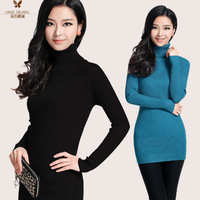 Autumn sweater turtleneck long-sleeve slim medium-long  hip-sweater basic shirt