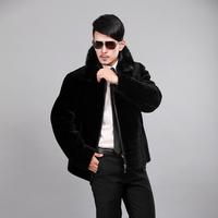 FANTASTIC MEN'S BLACK Real Mink Fur SHEARLING SHEEP FUR Coat Jacket M-5XL  Extra Large Wholesale Retail FS904199