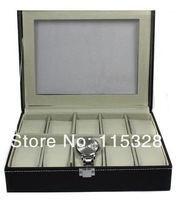Free Shipping,Wholesale 1pcs 10 Grid Black Leather Watch Display Slot Case Box Jewelry Storage Organizer