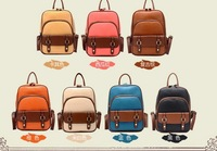 2013 New fashion cool retro vintage preppy style brown leather backpack school bag women's handbag