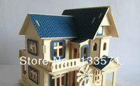 New2013diy children's educational wooden three-dimensional model of the beach villa puzzle, free shipping!