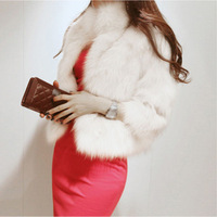 Luxury Faux Fur Warm Plain Button Short Coat Outwear Jacket Overcoat Winter Lady Free