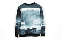Epic Sale 2013 New Autumn Fashion Women's Stylish Harajuku Grey Sky Print Pullover Sweatshirt Loose Hoodies Streetwear