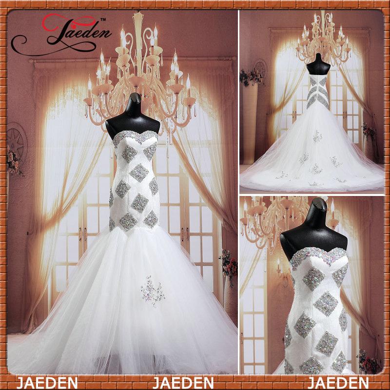 Cristais JW0598 querido barato branco longo Tribunal Trem Zipper Voltar Real Photo vestido de casamento da sereia(China (Mainland))