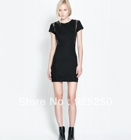 women sexy lace patchwork slim dress summer winter 2014 vintage european style sleeveless black pencil bodycon mini dress