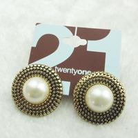 Min.order is $10 (mix order) Free Shipping & Fashion accessories big pearl alloy retro finishing stud earring  TA-3.99