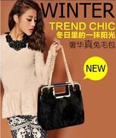 Fashion bags 2013 female genuine leather rabbit fur women's handbag winter fashion black bag chain bag