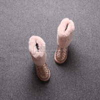 2013 japanned leather rivet diamond rabbit fur snow boots female 91351
