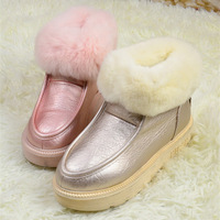Thick cotton rex rabbit hair fur ankle-length boots snow boots platform women's wedges shoes