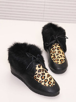Leopard print rabbit fur lacing flat boots ankle-length boots boots