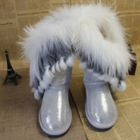 2013 high fox fur rabbit fur paillette gold silver tassel snow boots rubber sole