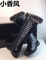 2013 small boots plaid genuine leather rabbit fur boots small high-leg fashion boots