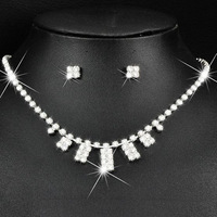 Min Order $5 (Mix Order) 2014 Fashion Jewelry Bride Jewelry Sets Crystal Necklace Earrings Sets Free Shipping