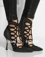 new arrival sexy pointed toe pumps hollow ankle boots sandals boots for lady