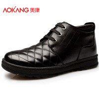 Aokang men's winter new arrival cotton-padded shoes male casual shoes leather shoes the trend of commercial shoes