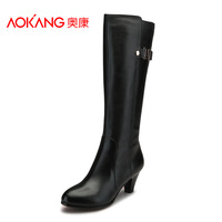 Aokang women's shoes 2013 medium-leg buckle boots fashion brief side zipper boots