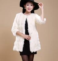 Fashion overcoat 2014 autumn and winter female medium-long three quarter sleeve rabbit fur coat fur TP3