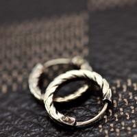 925 pure silver vintage royal handsome male earrings boys 10 - 6 earring single
