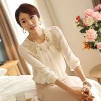 2013 summer womens  loose chiffon shirt top  lace high quality long-sleeve  shirt female plus size white  HYF9289