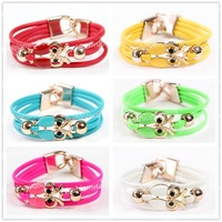 Personality   Antique Punk Gothic Owl Simple Infinity European Leather Bangle Bracelet Free Shipping 1pcs/lot