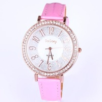 Wholesale black leather strap women dress watches brand luxury with glitter power diamond round case watches for girls