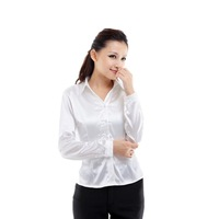 seda professional long-sleeved shirt glossy satin blouses ladies office blouse shirt white free shipping 2013 t shirt women