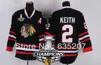 2013 Stanley Cup Champions Patch Chicago Blackhawks #2 Duncan Keith Ice Hockey Jersey Black Embroidery logos Mix Order