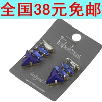 Free shipping 2014 new fashion jewelry female punk big blue gem  elegant bling drop earring for girls/women