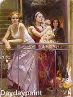 Hand Painted Pino Women Oil Painting Waiting On The Balcony on Canvas FREE SHIPPING