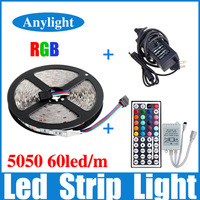 No-Waterproof 5M RGB 5050 SMD 300 Flexible LED Strip Light +44 Key IR Remote+ 12V 6A Power WLED37--Free Shipping