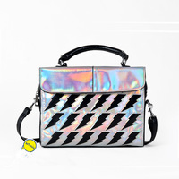 Fashion Laser Silver Color Handbag Laser Women Clutch Handbag Message Bag Laser Bag For Girls