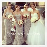 2013 New Arrival Mermaid Sweetheart Lace Long Bridesmaid Dress Brides Maid Dress Free Shipping BN125