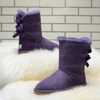Wool and fur in one boots bailey bow1002954 ribbon bow purple snow boots  bailey bow