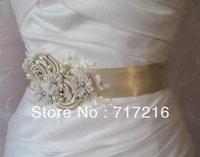 2014 Luxurious Sexy Wedding Sash Sheer Lace Beads Hand Made Flowers Floral Bridal Belt  Wedding Belt