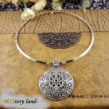 NR145 Bohemian Carved Tibetan Silver Torques Choker Vintage neckКружево Модный jewelry ...
