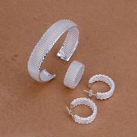 925 silver fashion Net Ring Bangle Earrings Jewelry Set free shipping wholesale Gift for women