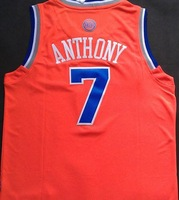 2014 New Fashion New York #7 Carmelo Anthony orange Rev 30 Embroidery Lgos Cheap Basketball jersey Free Shipping