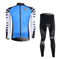 2013 Assos Team Winter Thermal Fleece Long Sleeve Cycling Jersey And Bike Pants Skins Compression Tights Bike Clothes for Men