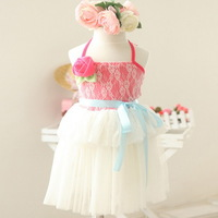 New,girls slip dress,children summer dress,a-line,lace flowers,sleeveless,corsage,2-8 yrs,5 pcs/lot,wholesale kids clothing,0453