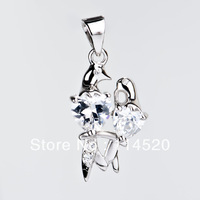 Free Shipping Sweet love birds duck design Pendant 925 Sterling Silver Pendant popular women