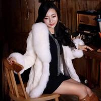 2014 luxury faux rabbit fur outerwear mink fur overcoat medium-long winter fur coat large faux fox fur collar S-4XL