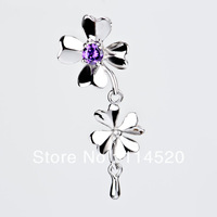 Free Shipping Four-leaf flower children love the classic design Pendant 925 Sterling Silver Pendant popular women