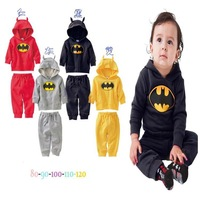 Baby Boys Girls Batman Long Sleeve Hooded Pullover Coat + Pants 2Pcs Set Children Leisure Sweater Sports Suit Kids Xmas Outfits