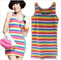 Free Shipping 2013 Newest Hot Sale Cotton Sexy Colorful Stripe Tops Women's Fashion Tank Tops Lady's Summr Camis Clothing Gift