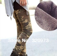 free shipping 2013 Winter new arrival women larger elastic slim plus size thicken warm camouflage army leggings