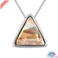 Wholesales Fashion Jewelry 18K Platinum Plated Crystal Trendy Triangle Necklaces & Pendants for women 90B110