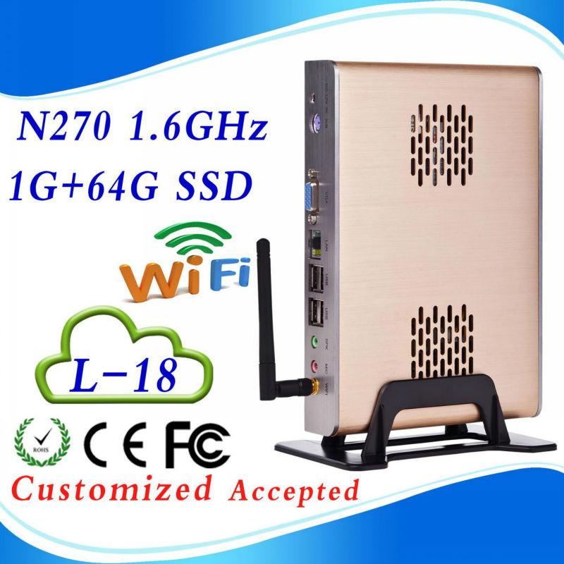 Htpc wifi mini itx case htpc nettop mini pc 2g ram 64g ssd INTEL ATOM N270 1.6 GHZ Support WIN7, Linux,Windows XP 6*USB 2.0(China (Mainland))
