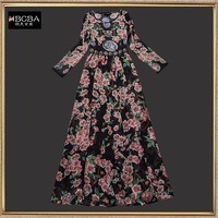 2014 spring and summer women's fashion vintage red flower pattern expansion bottom full dress elegant