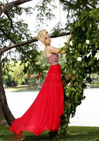 Free Shipping 2014 Latest Fashion Strapless Crystal Chiffon Red Prom Dresses Long Floor-Length For Special Occasion BO3487