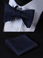 BC2001B Pure Navy Blue Check Classic 100%Silk Jacquard Woven Men Self Bow Tie BowTie Pocket Square Handkerchief Suit Set